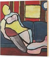 Figure On Couch Wood Print
