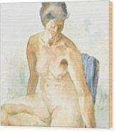Figure Sitting Wood Print