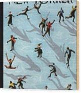 Figured Skaters Wood Print