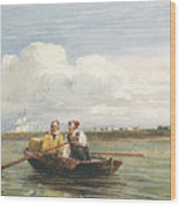 Figures In A Boat On The Thames, Gravesend Wood Print