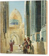 Figures In A Street Before A Mosque Wood Print