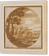 Figures In An Italianate  Wood Print