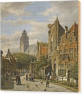 Figures In The Streets Of A Wintry Dutch Town Wood Print