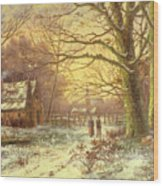 Figures On A Path Before A Village In Winter Wood Print by Johannes Hermann Barend Koekkoek