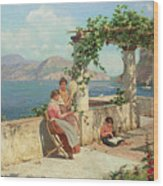 Figures On A Terrace In Capri  Wood Print