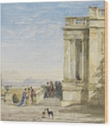 Figures On A Terrace With Greyhounds Wood Print