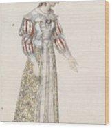 Figurine In Medieval Dress, Wood Print
