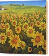 Filed Of Sunflowers Wood Print
