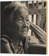 Filipino Lola Image Number 33 In Black And White Sepia Wood Print