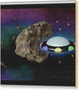 Film Frame With Asteroid And Ufo Wood Print