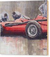Final Check Before The Start Maserati 250 F 1957 Wood Print