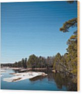 Final Winter Days On The Moose River Wood Print
