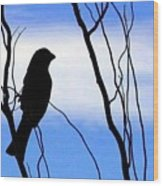Finch Silhouette 1 Wood Print