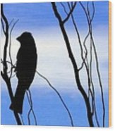 Finch Silhouette 2 Wood Print