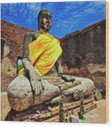 Finding, Not Seeking At Wat Worachetha Ram In Ayutthaya, Thailand Wood Print