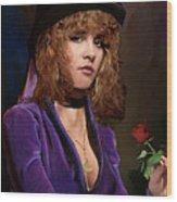 Fine Art Digital Portrait Stevie Nicks Crescent Moon Top Hat Wood Print