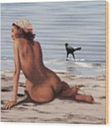 Fine Art Female Nude Multimedia Oil Painting Stacy Sitting Gulf Coast Florida Wood Print