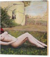 Fine Art Female Nude Niki Goddess Diana Reclining Multimedia Painting Wood Print