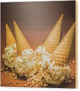 Fine Art Ice Cream Cone Spill Wood Print
