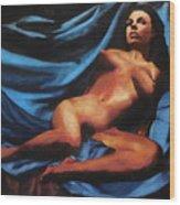 Fine Art Nude Multimedia Painting Tanya Sitting Reclined On Blue Wood Print