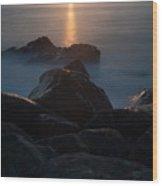 Fine Art- Sunset Rocks Wood Print