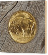 Fine Gold Buffalo Coin On Rustic Wooden Background Wood Print