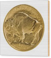 Fine Gold Buffalo Gold Coin On White Background  Wood Print