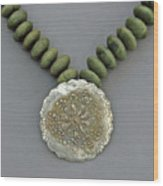 Fine Silver Doily Pendant On Green Jade Wood Print
