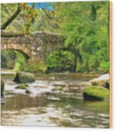 Fingle Bridge - P4a16013 Wood Print