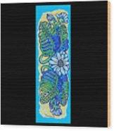 Finished15 Ink Drawing Handtowel Series W Black Background Wood Print