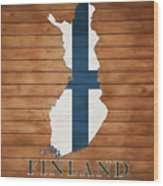 Finland Rustic Map On Wood Wood Print