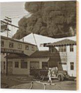 Fire At Cannery Row, Custom House Packing Company Sea Beach Cannery 1953 Wood Print
