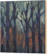 Fire At Sunset Wood Print