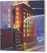 Fire At The Butternut Building Wood Print by Bobbi Baltzer-Jacobo
