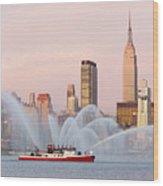 Fire Boat And Manhattan Skyline I Wood Print by Clarence Holmes