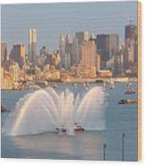 Fire Boat And Manhattan Skyline Iv Wood Print