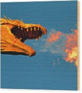 Fire Breathing Dragon Pano Work Wood Print