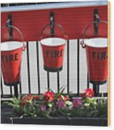Fire Buckets Wood Print