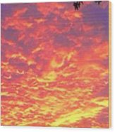 Fire Clouds Wood Print