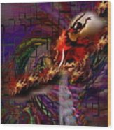 Fire Dancer-glory Realms Wood Print