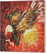 Fire Eagle Wood Print