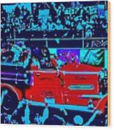 Fire Engine Red In Blue Wood Print