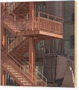 Fire Escape And Platforms Wood Print