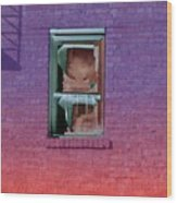 Fire Escape Window 2 Wood Print