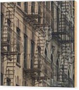 Fire Escapes On Brownstone Apartment Wood Print by Everett