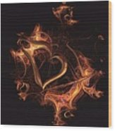 Fire Heart Wood Print