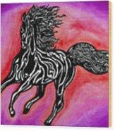 Fire Horse Burn 4 Wood Print