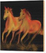 Fire Horses Wood Print