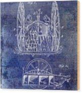 Fire Hose Cart Patent Blue Wood Print