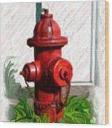 Fire Hydren Wood Print